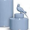 Potiche com Pássaro Cinza Provençal em Cerâmica 22x30cm