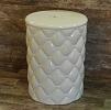 Garden Seat Branco em Cerâmica Trabalhada 45 cm