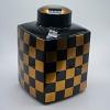 Potiche Dourado e Preto em Cerâmica 31 cm