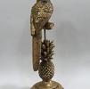Escultura Pássaro com Abacaxi em Resina Dourada 11x34cm