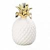 Abacaxi Branco e Dourado em Cerâmica 8x16cm
