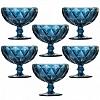 Taça para Sobremesa Matelassê em Vidro Azul 310ml 6 Peças
